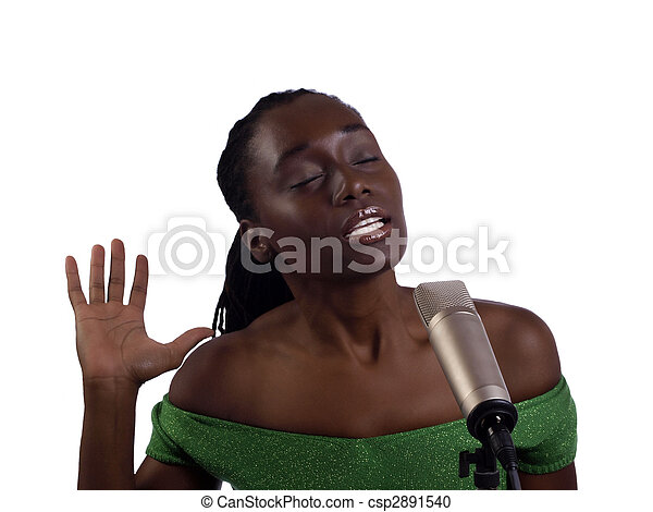 Young black woman at microphone eyes closed - csp2891540