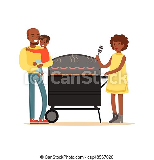 young black woman grilling sausages on a grill for her vector rh canstockphoto com black ladies clipart black ladies clipart