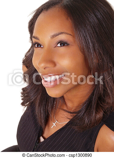 Young Black Woman Portrait Smiling - csp1300890