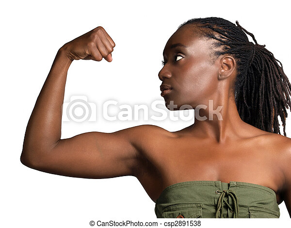 Young black woman profile showing biceps - csp2891538