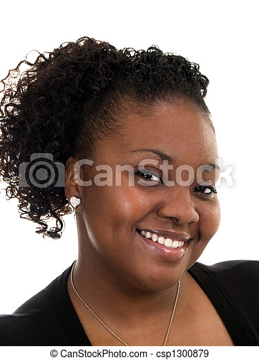 Young Black Woman smiling Portrait in dress - csp1300879