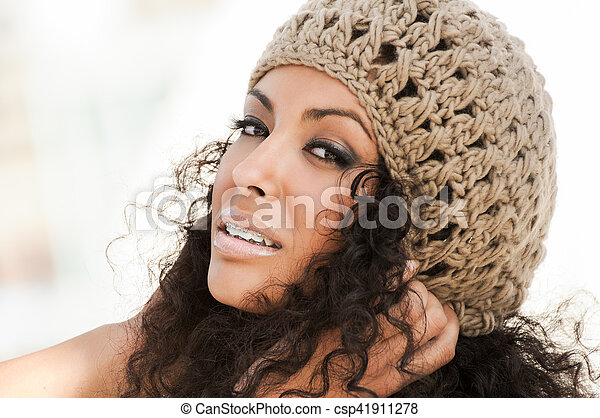 Young black woman smiling with braces - csp41911278