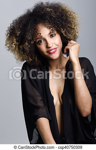 Young Black Woman With Afro Hairstyle Smiling Young Black Woman