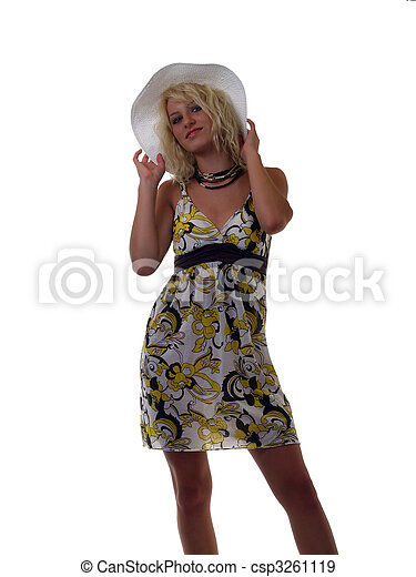 Young blond teen girl in summer dress and hat - csp3261119