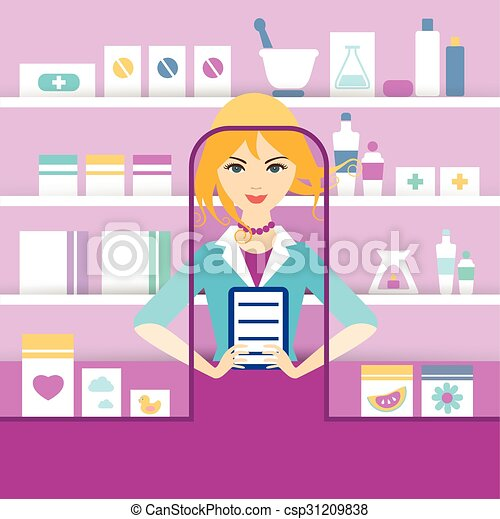 Young blonde pharmacy chemist girl standing in drugstore. Flat vector. - csp31209838