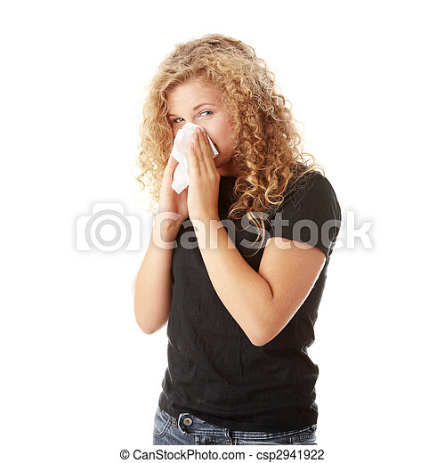 Young blonde woman having a cold  - csp2941922
