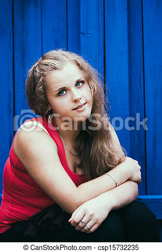 Young Blue-Eyed Girl - csp15732235