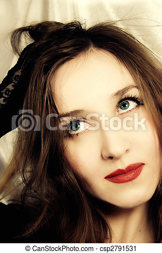 young blue-eyed girl with handbag in hand - csp2791531
