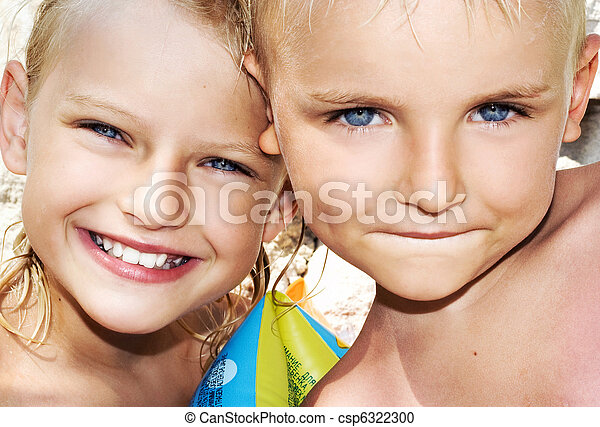Young boy and child on sunny vacation day - csp6322300