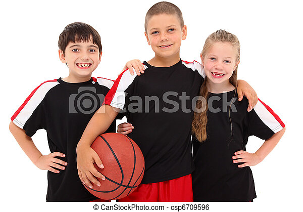 Young Boy and Girl Child Basketball Team - csp6709596