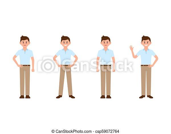 Young Boy Cartoon Character Vector Illustration Of Casual Look Man