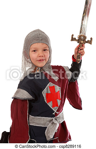 Young boy dressed as a Knight - csp8289116