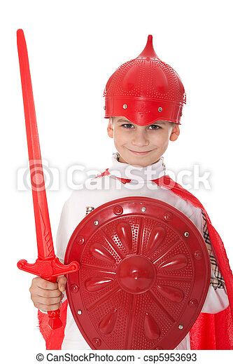 Young Boy Dressed Like a knight  - csp5953693