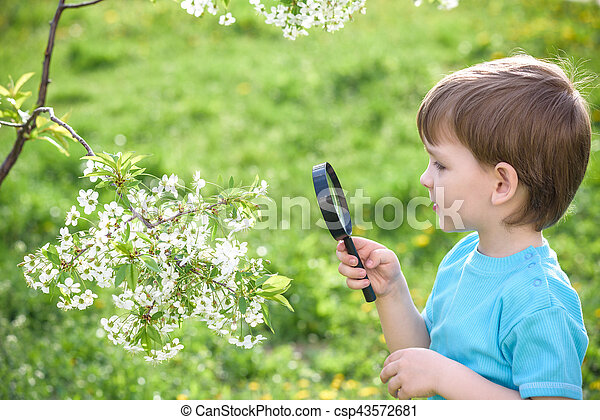 Young boy exploring nature in a meadow with  magnifying glass - csp43572681