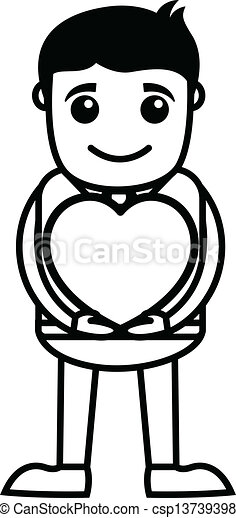 Young Boy Holding a Heart - csp13739398