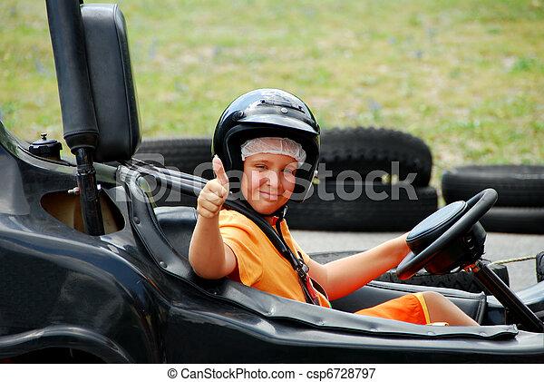 Young Boy in Go Cart - csp6728797