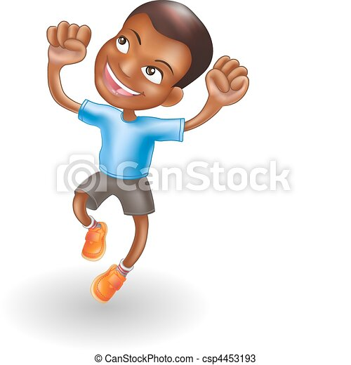 Young boy jumping for joy - csp4453193