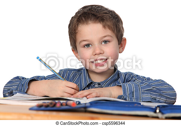 young boy learning - csp5596344