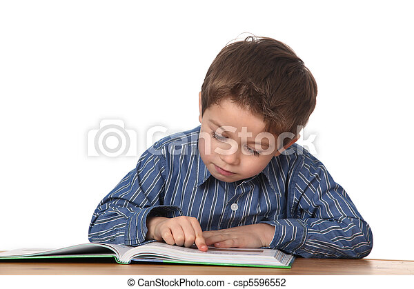young boy learning - csp5596552