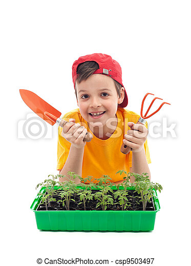 Young boy learning to grow food - csp9503497