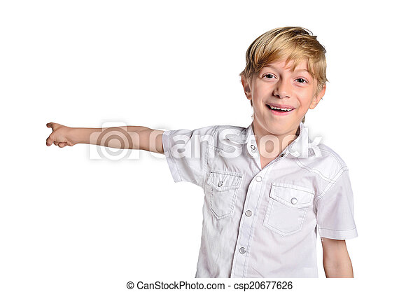 young boy pointing - csp20677626
