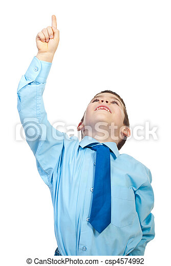 Young boy pointing up to copy space - csp4574992