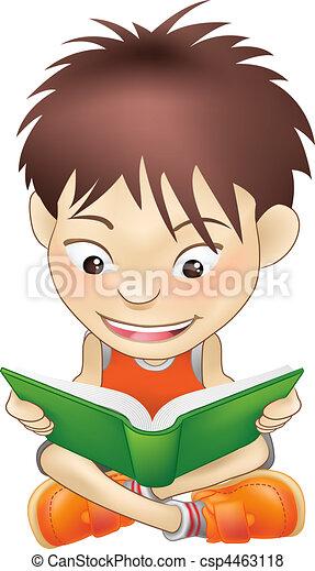 young boy reading a book - csp4463118