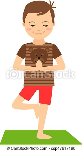Young boy standing in yoga pose - csp47617198