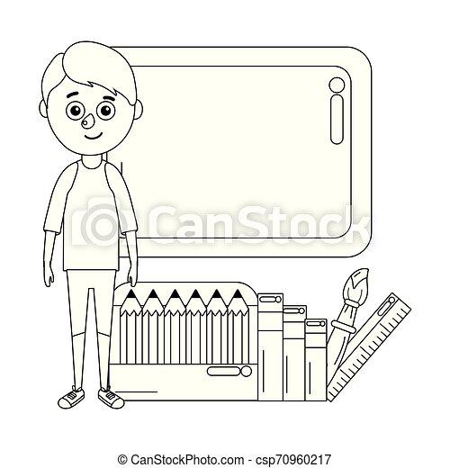young boy student school board - csp70960217