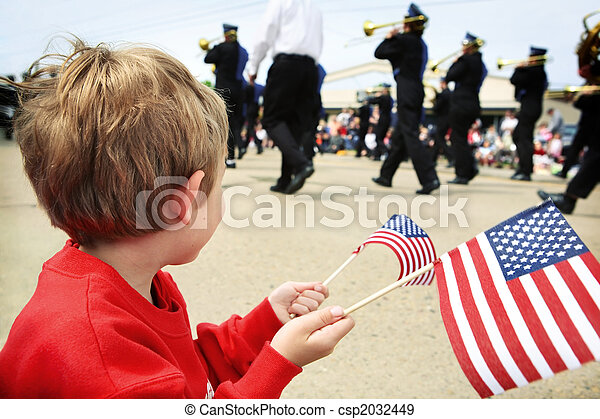 Young boy watching the memorial day parade - csp2032449