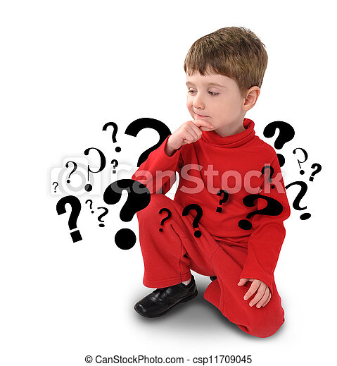 Young Boy with Thinking about Question - csp11709045