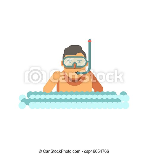 young boy with underwater mask and tube in river waves isolated on rh canstockphoto com Title Wave Symbol river water waves clipart