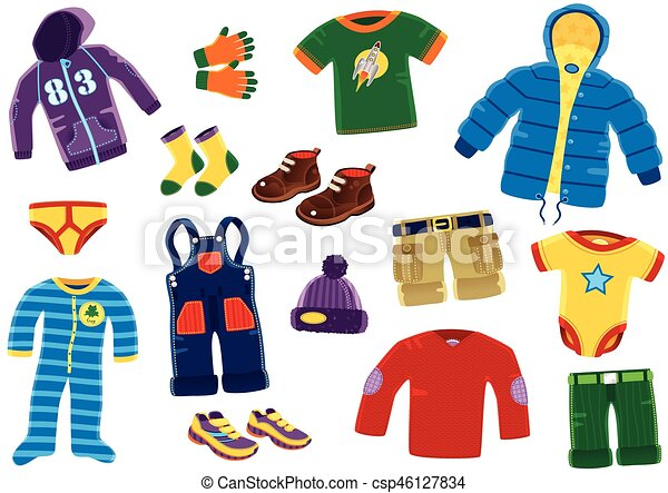 Young Boys Clothing Items Illustrations Of Various Clothing Items