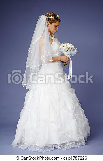 Young bride in white wedding dress - csp4787226