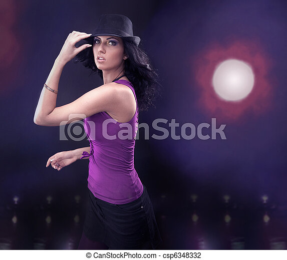 Young brunette beauty dancing - csp6348332