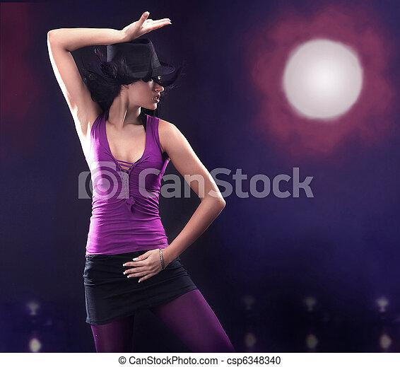 Young brunette beauty dancing - csp6348340
