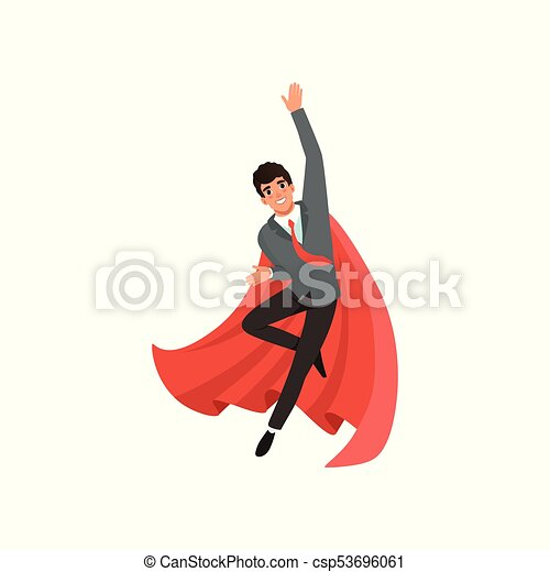 Young business man in suit, red tie and superhero cloak. Cartoon guy in flying action. Career advancement. Successful office worker with happy face. Flat vector design - csp53696061
