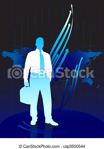 Young business man on world map background - csp3500544