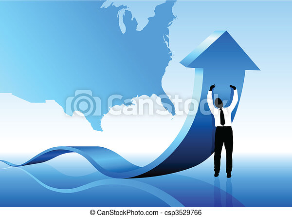 Young business man pushing USA out of recession - csp3529766