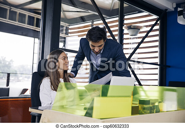 Young business people working in modern office - csp60632333