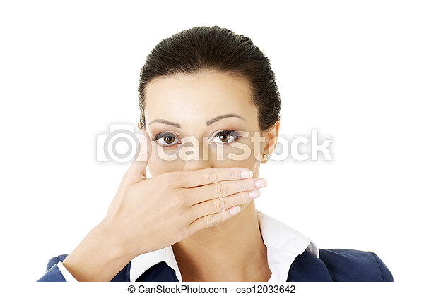 Young business woman covering her mouth - csp12033642