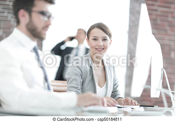 young business woman in office - csp50184811