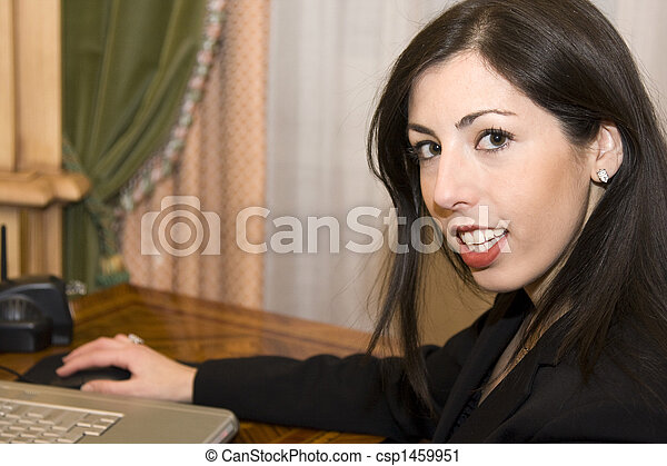 Young Business Woman on Laptop - csp1459951