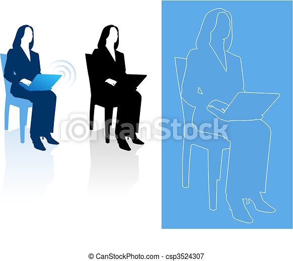 Young business woman silhouettes - csp3524307
