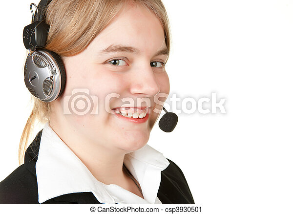 young business woman with headset isolated on white - csp3930501