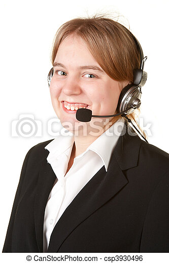 young business woman with headset isolated on white - csp3930496