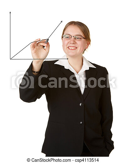 young business woman with marker isolated on white - csp4113514
