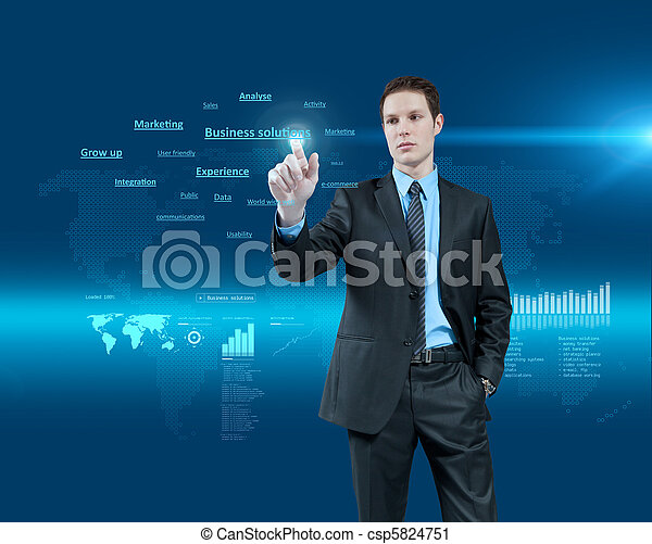 Young businessman choosing business solutions in holographic virtual reality interface. Future collection. One of a series. - csp5824751