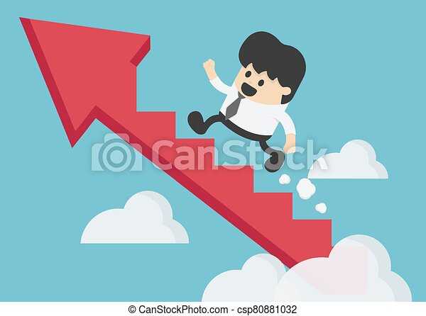 Young businessman climbing the arrow stairs to success - csp80881032