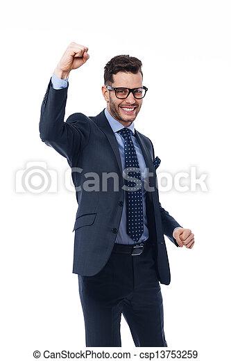 Young businessman enjoys the winning - csp13753259